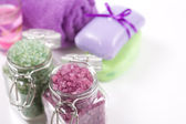 Soap, sea salt, candles and towels. Set for spa treatments — Stock Photo
