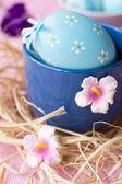 Kraslice modré zdobené květy — Stock fotografie