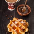 Sweet waffles, honey and espresso — Stock Photo