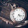Stock Photo: Vintage pocket watch on chain