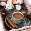 Stock Photo: Coffee and cookies in old tray