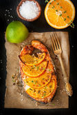 Grilled salmon — Stock Photo