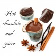Hot chocolate with spices: vanilla and cinnamon — Stock fotografie