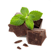 Close-up of a dark chocolate with mint — Stock Photo