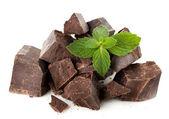 Dark chocolate with mint — Stock Photo