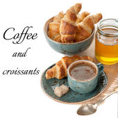 Coffee, croissants and honey — Stock Photo