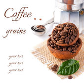 Coffee grains with green leaf and coffee pot on a white background with sample text — Stock Photo