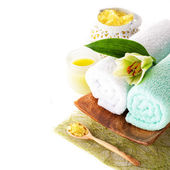 Spa (towel, sea salt, candle and flower lily) — Stock Photo