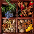 Stock Photo: Spices and herbs in old wooden box