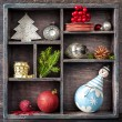 Christmas tray with toys. Antique clock, snowman and balls — Foto Stock