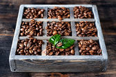 Сoffee grains in a old wooden box — Stock Photo