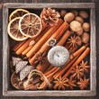 Christmas spices, vintage watch on a chain and Christmas toys in vintage wooden box — Stock Photo