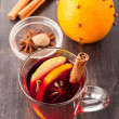 Hot Christmas drink (mulled wine) with spices — Stock Photo #36264627