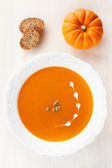 Pumpkin soup with croutons in the white plate — Stock Photo