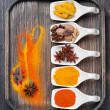 Stock Photo: Colorful spices in wooden tray