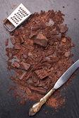 Chocolate on the chalkboard — Stock Photo