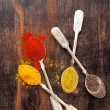 Spices in spoons Curry, paprika and coriander — Stock Photo #41437035