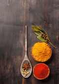 Spice over Wood — Stock Photo