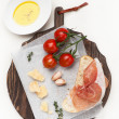 Stock Photo: Prosciutto ham, ciabatta, parmesand olive oil