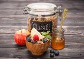 Muesli with honey, fruits and berries. Healthy breakfast — Stock Photo