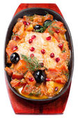 Salmon baked with vegetables — Stock Photo