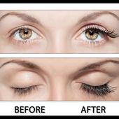 Göz ve yanlış eyelashes — Stok fotoğraf