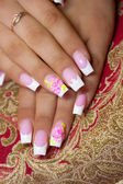 Female hands, nails with beautiful Art manicure — Stock Photo