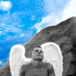 Man Wearing Angel Wings — Stock Photo