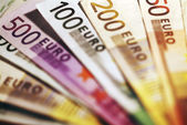 Background of euro bills. — Stock Photo