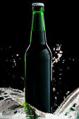 Beer in green bottle with water splash isolated on black — Stock Photo