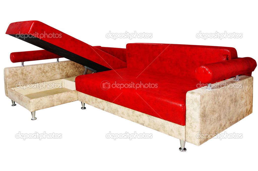 Very nice red sofa isolated on white background  Stock Photo #14060242