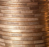 Gold coin stack close up — Stock Photo