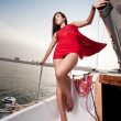 Beautiful young girl on a yacht — Stock Photo #14611011