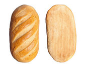Long loaf isolated on a white background — Stock Photo