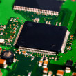 Closeup of electronic circuit board with processor — Stock Photo
