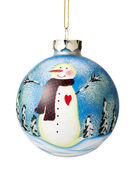 Snowman on Christmas ball — Stockfoto
