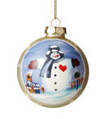 Snowman on Christmas ball — Stock Photo