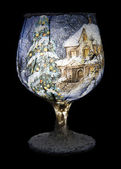 Christmas Decoration On The Wine Glass — Stock Photo