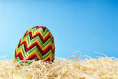 Easter egg in hay — Stock Photo
