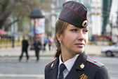 The girl police officer in the city of St. Petersburg. — Stock Photo