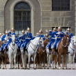 Постер, плакат: STOCKHOLM JULY 23: Changing of the guard ceremony with the participation of the Royal Guard cavalry