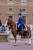 STOCKHOLM - JULY 23: Changing of the guard ceremony with the participation of the Royal Guard cavalry — Stock Photo