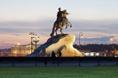 monument to the Bronze Horseman in the evening, St. Petersburg — Foto de Stock