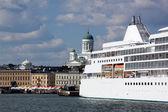 Ferries at moorings in port of Helsinki — Stock Photo