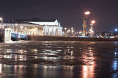 View of the spit of Vasilevsky Island at night — Stock Photo