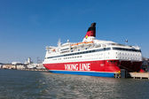 HELSINKI, FINLAND-MARCH 29: The ferry Viking Line is moored at t — Stock Photo