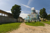 Izborsk fortress. St. Nicholas Cathedral in repair — Stock Photo
