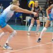 Volleyball game Dinamo Russia (white) vs Omichka (black) - Stock Photo