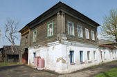 The old wooden building apartments!, Yuriev-Polsky, Russia — Stockfoto