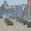 Military equipment after the parade on red square in Moscow — Stock Photo #26998865